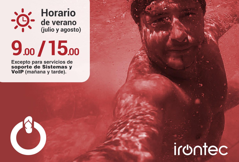 Horario de verano de Irontec: 9 a 15 horas (julio y agosto)