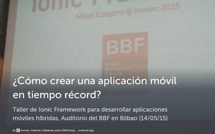 Taller de Ionic Framework en Bilbao
