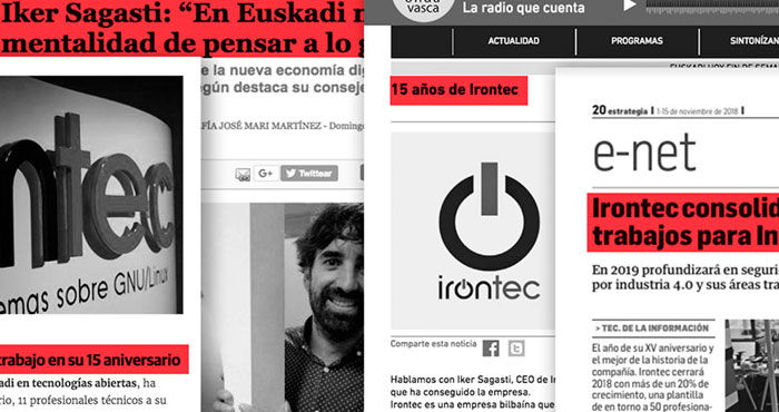 Gran presencia mediática de Irontec coincidiendo  con nuestro 15º aniversario