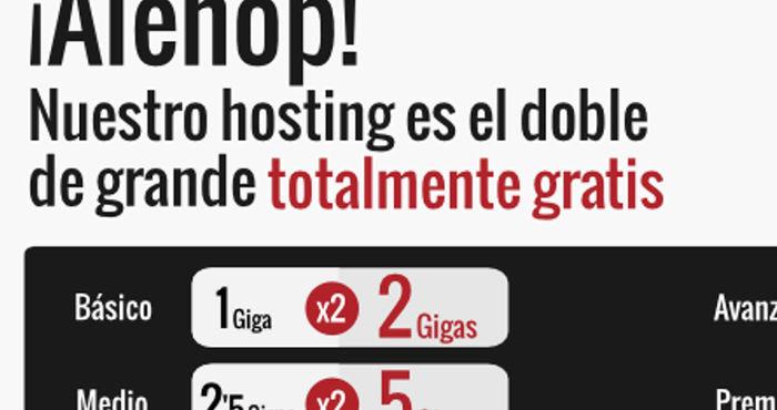 Alehop! Nuestro hosting es el doble de grande... ¡y gratis!