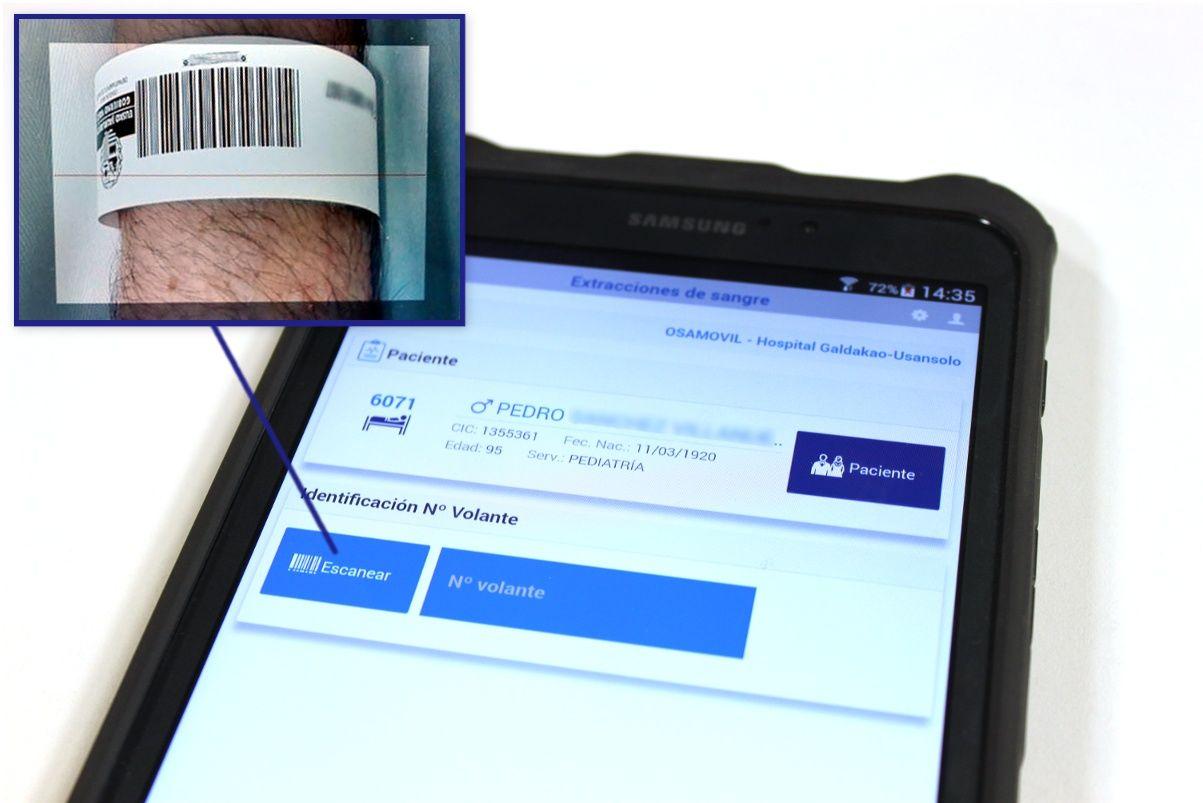 Identificación de pacientes con código de barra desde la propia app