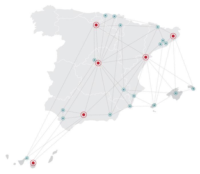 mapa con las sedes logísticas de GM Food en España