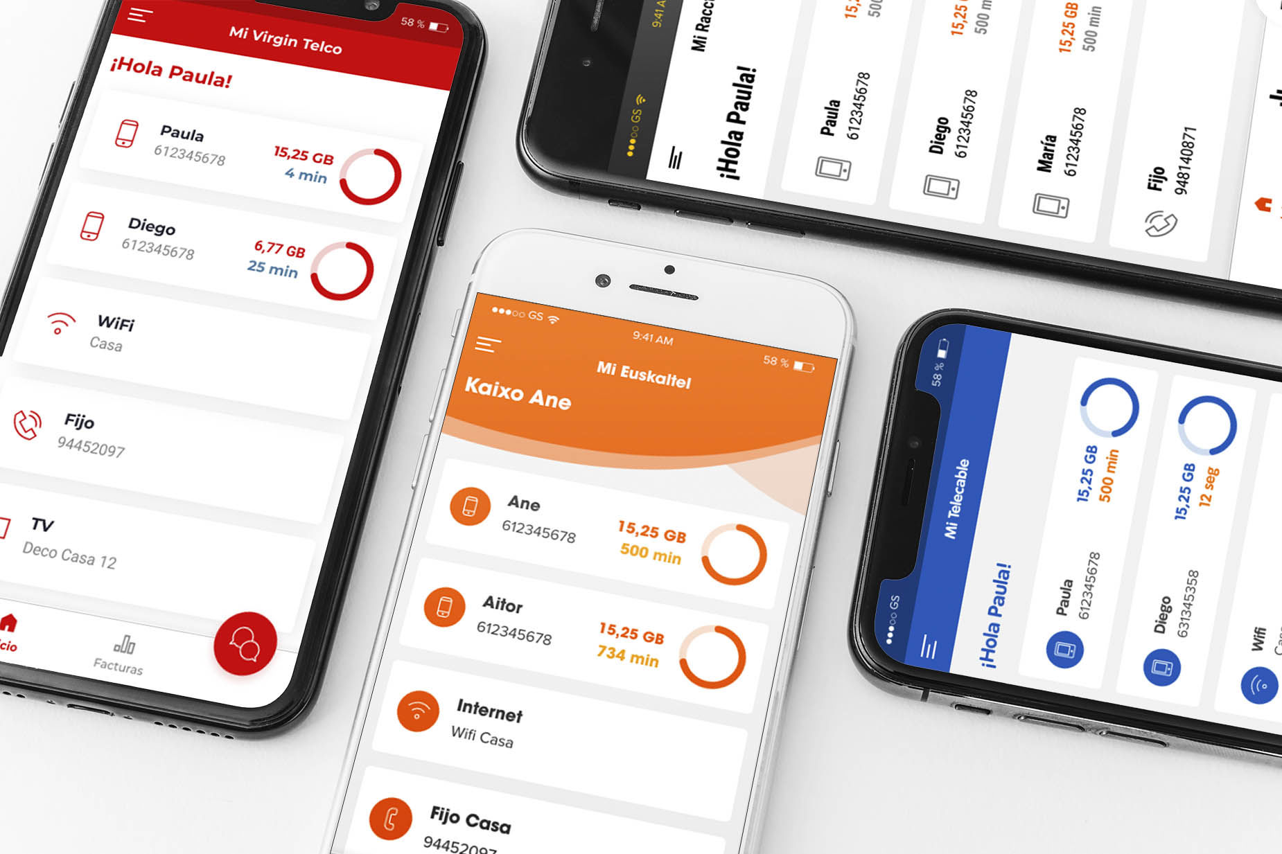 Móviles con las apps de las marcas del Grupo Euskaltel