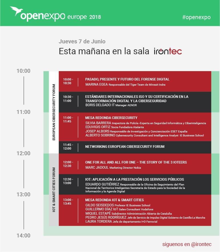 Programa sala Irontec Open Expo 2018 7 junio